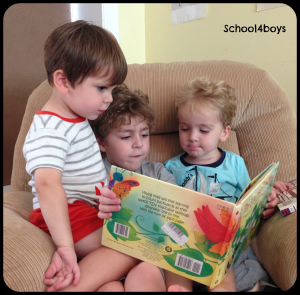 boys reading, read alouds, flame read alouds, reading together